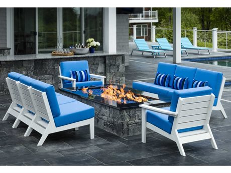 Seaside Casual The Dex Recycled Plastic Cushion Firepit Lounge Set