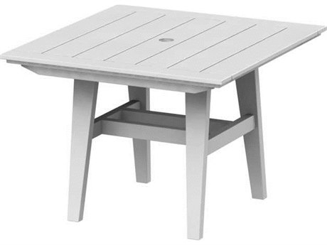 Seaside Casual The Mad Recycled Plastic 40'' Wide Square Dining Table with Umbrella Hole