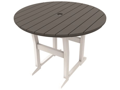 Seaside Casual Coastline Recycled Plastic Cafe Fusion 40''Wide Round Dining Table with Umbrella Hole