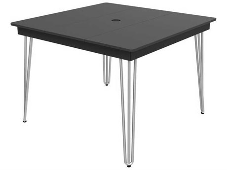 Seaside Casual Hip Aluminum 41''Wide Square Dining Table with Umbrella Hole