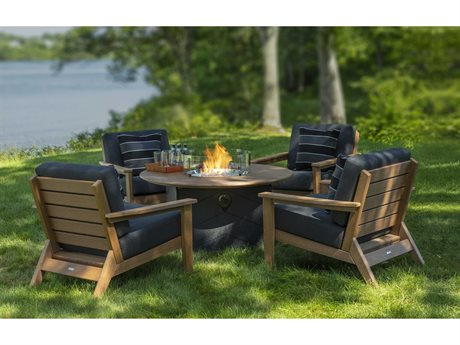 Seaside Casual Dex Recycled Cushion Fire Pit Lounge Set