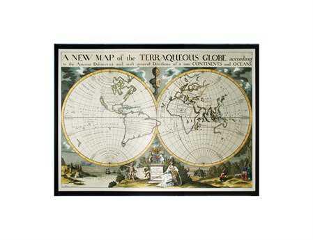 Sterling Map Of Terrqueous Globe Oxford Wall Art