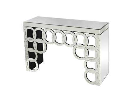 Sterling Silver Rings Mirrored 44.75 x 15.25 Console Table