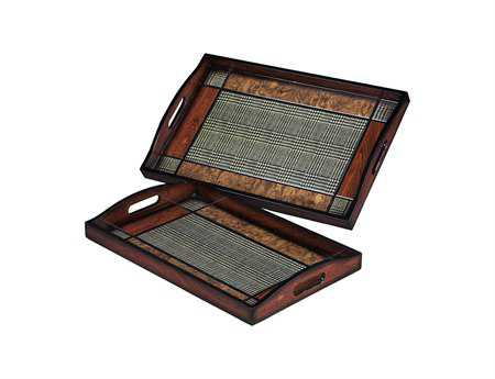 Sterling Checked Trays (Set of 2)
