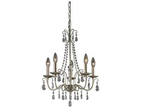 Sterling Antique Silver Mini 18'' Wide Chandelier