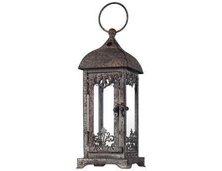 Sterling Distressed Finish Hurricane Lantern Candle Holder