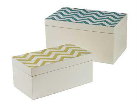 Sterling Chevron Print Boxes (Two Piece Set)