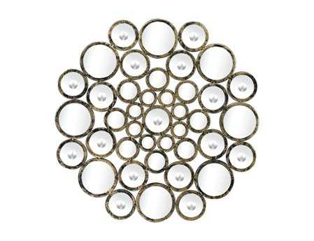 Sterling 27 Round Hand Cut Convex Accents Wall Mirror