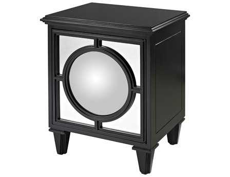 Sterling Mirage Gloss Black Convex Mirror Nightstand