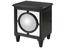 Sterling Mirage Gloss Black Convex Mirror Nightstand