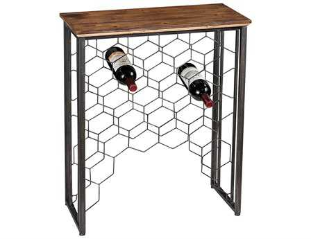 Sterling Wood & Metal Small Console with Wine Rack