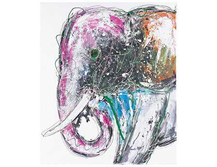 Sterling Bold Elephant Oversized Oil On Canvas Wall Art