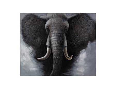 Sterling African Elephant Oversized Oil On Canvas Wall Art