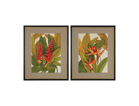 Sterling Tropical Bird Of Paradise & Tropical Red Ginger Fine Art Giclee Under Glass Wall Art (Two Piece Set)