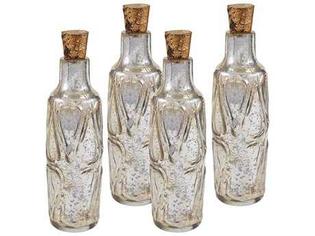 Sterling Mouth Blown Antique Mercury Glass Bottle Decorative Accents (Four Piece Set)