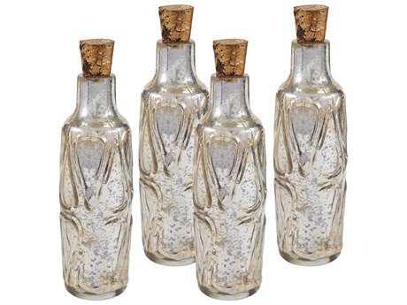 Sterling Mouth Blown Antique Mercury Glass Bottle Decorative Accents (Four Piece Set)