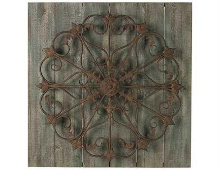 Sterling Meridian Metal Scroll On Distressed Wood Wall Panel