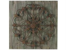 Sterling Meridian Metal Scroll On Distressed Wood Wall Panel