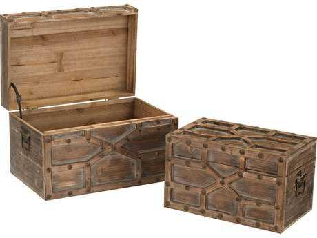 Sterling Jinkoh Aged Warm Oak Storage Trunk (Two Piece Set)