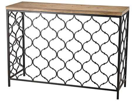 Sterling Agra 15'' x 42'' Rectangular Black and Natural Oak Console Table