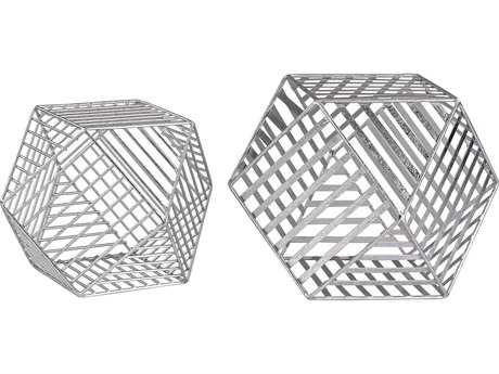 Sterling Geometry Silver Leaf Wire Dodecahedron (Two Piece Set)