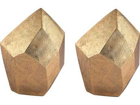 Sterling Heavy Metal Gold Leaf Augmented Tetrahedron Sculptures (Two Piece Set)