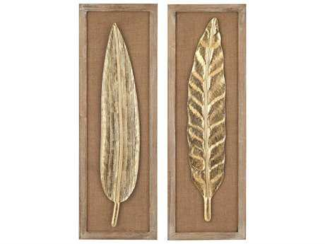 Sterling Gold Leaf, Natural Linen & Light Wood Tone Metallic Leaves Wall Decor (Two Piece Set)