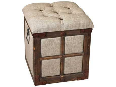 Sterling Restoration Aged Walnut with Natural Linen Storage Accent Stool
