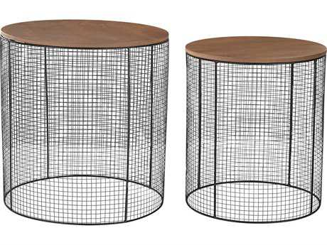 Sterling Wire Black 19'' Wide Round Nesting Table (Two Piece Set)