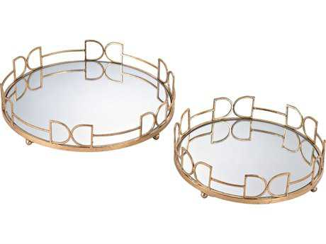 Sterling Snaffle Bit Gold Leaf & Mirror Serving Trays (Two Piece Set)