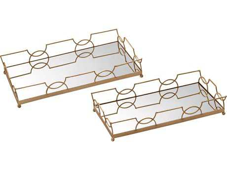 Sterling Bow Tie Gold Leaf & Mirror Serving Trays (Two Piece Set)