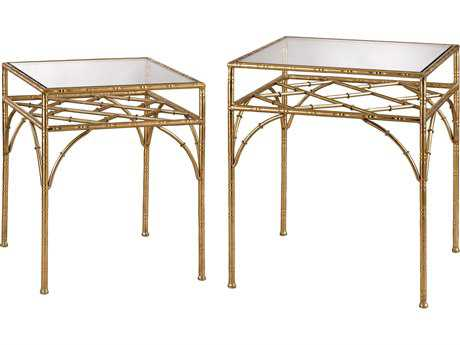 Sterling Bamboo Clear & Gold Leaf 20'' Wide Square Nesting Table (Two Piece Set)