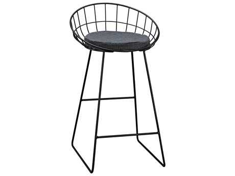 Sterling Orson Black and Grey Linen Side Bar Stool