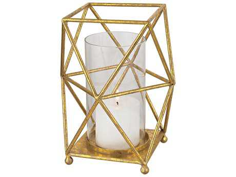 Sterling Geometry Hexagonal Prism Hurricane Gold Candle Holder