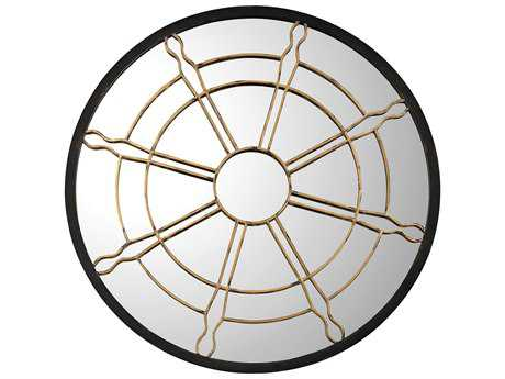 Sterling Nautical Window Black & Gold 36'' Wide Round Wall Mirror