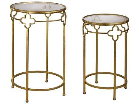 Sterling Quatrefoil Gold & Mirror 17'' Wide Round Nesting Table (Two Piece Set)
