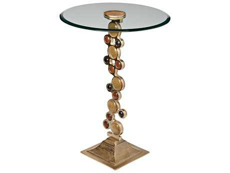 Sterling Ruby & Gold 18'' Wide Round Pedestal Table