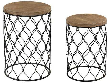 Sterling Mesh Work Black with Natural Oak 19'' Wide Round Drum Tables (Two Piece Set)