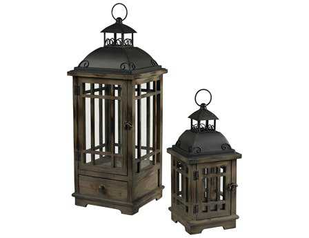 Sterling Pointe Boise Wood & Metal Lantern Candle Holder (Two Piece Set)
