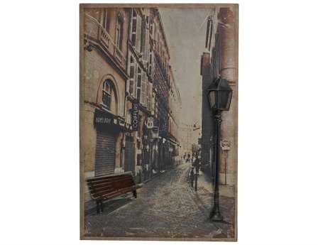 Sterling Paris Street Scence Printed On Metal with Metal 3D Accents Wall Art