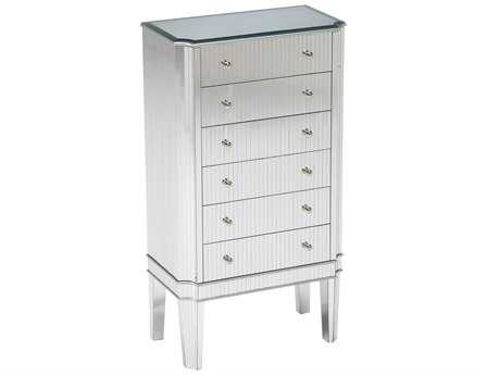Sterling Cinema Jewelry Silver & Mirrored Chest of Drawers