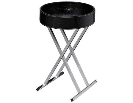 Sterling Felton Black Faux Croc Tray Top with Chrome 14'' Wide Round End Table