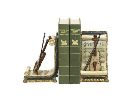 Sterling Pair Of Violin & Music Book Ends
