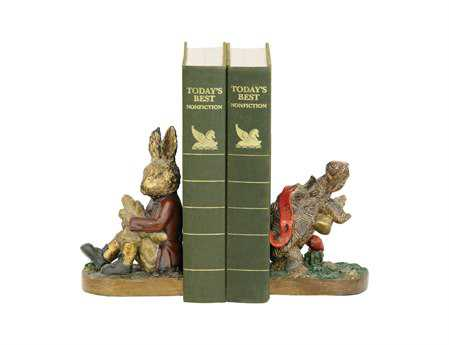 Sterling Pair Of Tortoise & Hare Book Ends