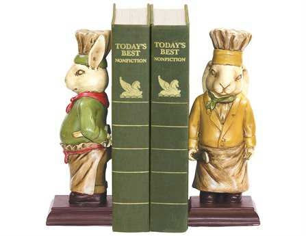 Sterling Pair Of Chef Bunny Book Ends