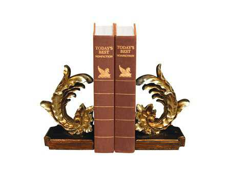 Sterling Pair Of Cresting Vintage Floral Leaf Book Ends