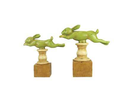 Sterling Running Rabbit Finials (Set of 2)
