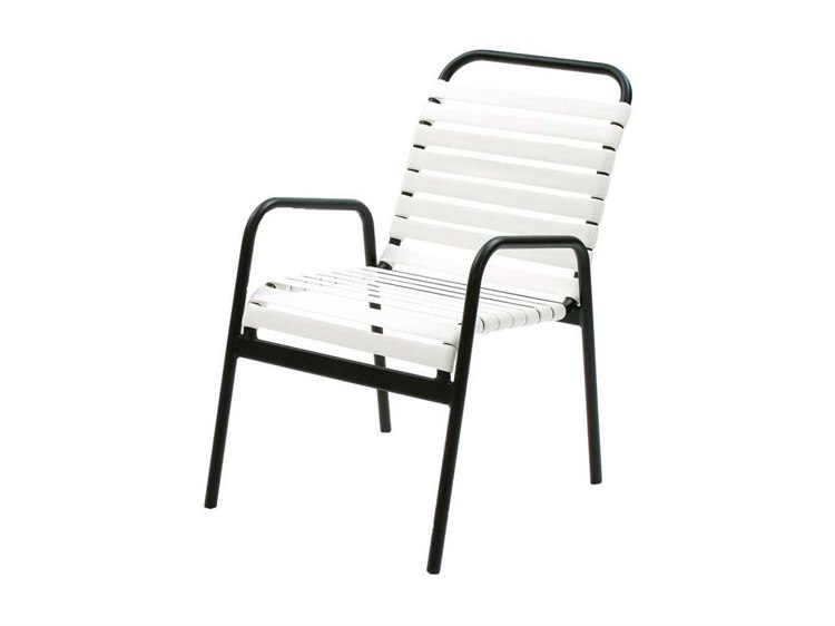 Suncoast Sanibel Strap Aluminum Arm Stackable Dining Chair PatioLiving