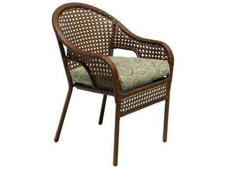 Suncoast Kona Wicker Cushion Arm Dining Chair