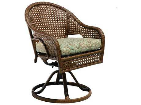 Suncoast Kona Wicker Cushion Arm Swivel Rocker Dining Chair
